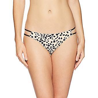 Brand - Mae Women's Swimwear Trina Thin Double Strap Bikini Bottom,Leopard Print,Medium