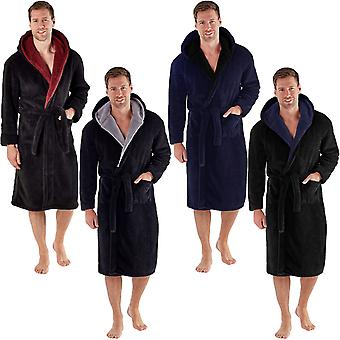 Snuggaroo Mens Soft Fleece Long Sleeve Hooded Lounge Bath Robe Dressing Gown