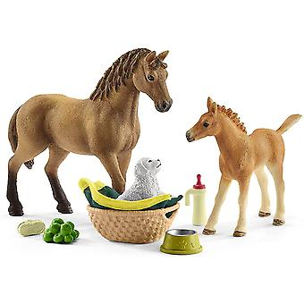 schleich horse club sarah's baby animal care playset playset for ages 5 and