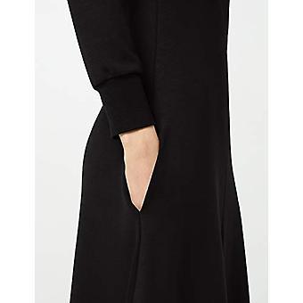 Meraki Women's A-line V-neck Midi Dress with Pockets, Black, EU XS (US 0-2)
