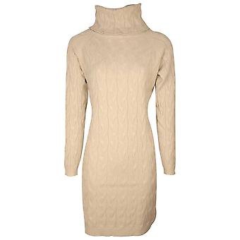 Passioni Beige Roll Down Polo Neck Long Sleeve Cable Knit Dress
