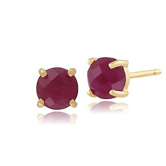 Classic Round Ruby Checkerboard Stud Earrings in 9ct Yellow Gold 5mm 135E1104029