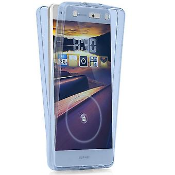 360 Degree Protection for Huawei P9 Lite Silicone Shockproof Translucent Mobile Shell Blue