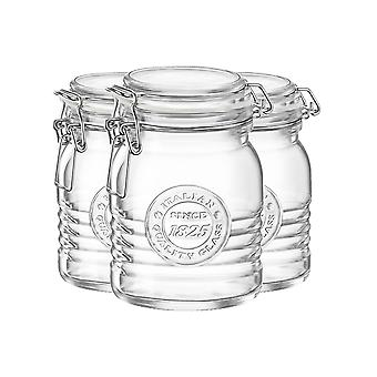 Bormioli Rocco Officina 1825 Glass Storage Jar with Airtight Clip Lid - 500ml - Pack of 3