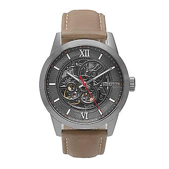 Heritor Automatic Jonas Leather-Band Skeleton Watch - Silver/Grey