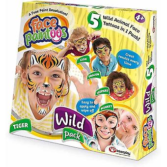 Face paintoos wild pack, temporary face paint tattoos, for age 4 years and up-