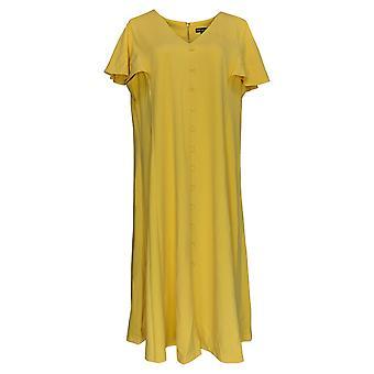 Nina Leonard Plus Dress Knit V-Neck Button-Front Midi Yellow 690-190