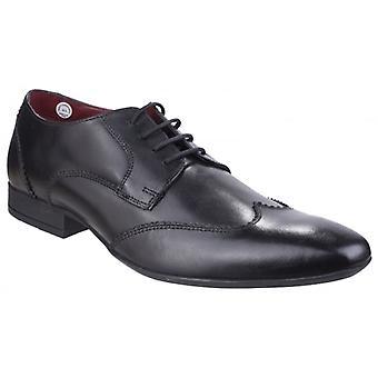 Lambretta Bruce Mens Leather Wingtip Shoes Black