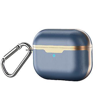 Wysokiej jakości skórzana obudowa z karabinkiem dla Apple AirPods Pro niebieski