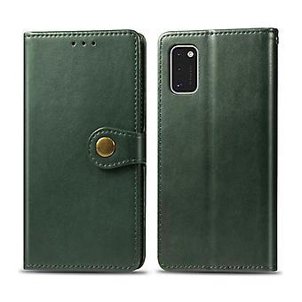 עבור גלקסי A41 רטרו צבע אחיד עור אבזם מקרה טלפון עם שרוך && &מסגרת תמונה &חריץ כרטיס &ארנק פונקציית מעמד(ירוק)