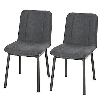 HOMCOM 2 Pieces Armless Mid Back Dining Chair Leisure Fabric Upholstered Padded Seat with Metal Legs for Living Room, Bedroom, Dorm, Office, Dark Grey