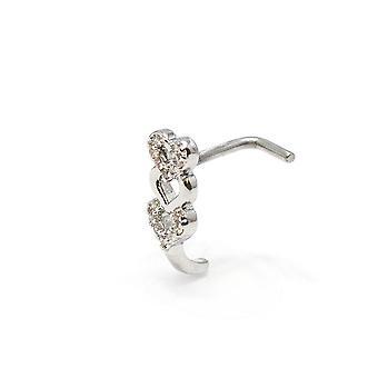 Pierścień nosowy l-bend 1pc cz gem utwardzony potrójne serce 20g 18g śruba pełzacza nosa