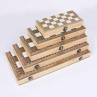 Foldable Wooden Chess Board Set, Travel Games, Backgammon Checkers Toy,