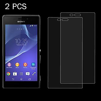 2 PCS voor Sony Xperia M2 / S50H 0,26 mm 9H Surface Hardness 2.5D Explosion-proof Tempered Glass Screen Film