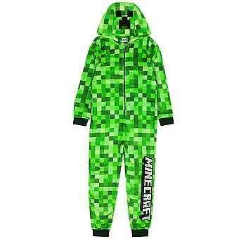 Minecraft Creeper Onesie til drenge og piger | Kids Green Soft Pixeleret Sleepsuit med Creeper Face Hood | Børns Gamer alt i én Pyjamas Gave