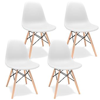 Modern Style Polypropylene Dining Chair With Wooden Legs Office Chair