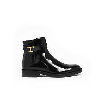 Tod's Xxw60c0de10aktb999 Women's Black Patent Leather Ankle Boots