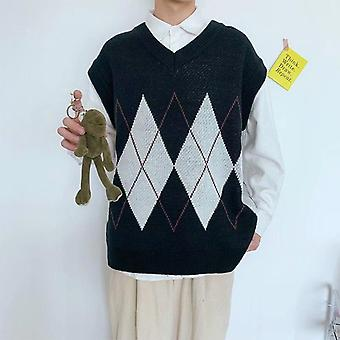 Men Patchwork V-neck Sleeveless Sweaters Chic Preppy Style Side-slit Couples