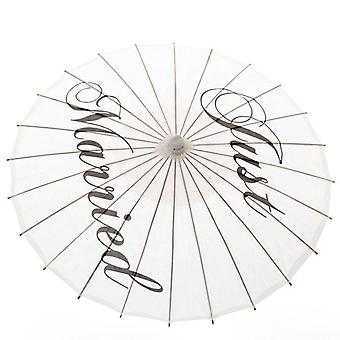 Handmade Just Married Painted Paper Parasol Wedding Prop, Bride Party