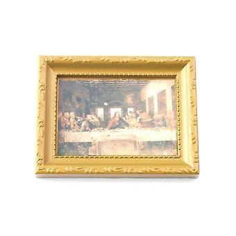 Nukkekodin viimeinen illallinen kuva kultakehyksessä 1:12 Miniatyyri Uskonnollinen lisävaruste