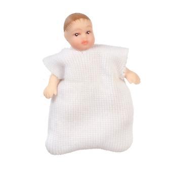 בובות בית תינוק ב שינה תיק לבן מיניאטורי חרסינה אנשים 1:12