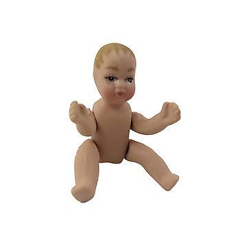 Nukkekoti Riisuttu vauva Miniatyyri 1:12 Asteikko Posliini ihmiset pukeutua