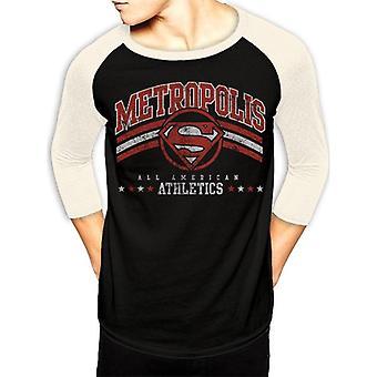 Superman Adults Unisex Adults Metropolis Athletics Baseball Shirt