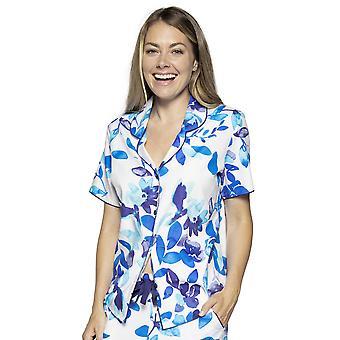 Cyberjammies Libby 4762 Kvinnor's vit och blå mix blommig bomull Pyjama Top