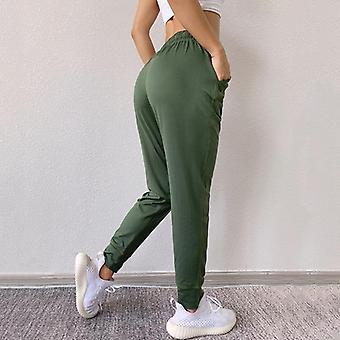 Pantalons de sport amples, pantalons de yoga de course de femmes, forme physique élastique de taille de poche