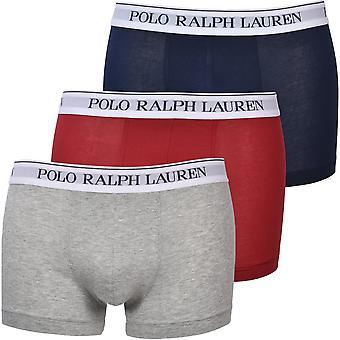 Polo Ralph Lauren 3-Pack Witte Tailleband Boxer Trunks, Navy/Grijs/Rood