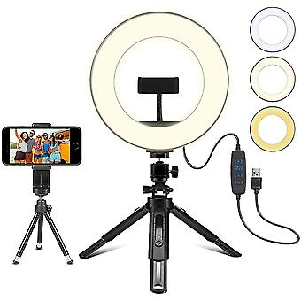 "8"" LED Ring Light with Tripod Stand, Dimmable 3 Light Modes & 10 Brightness"