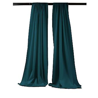 La Linen Pack-2 Polyester Poplin Backdrop Drape 96-Inch Wide By 58-Inch High, Dark Teal