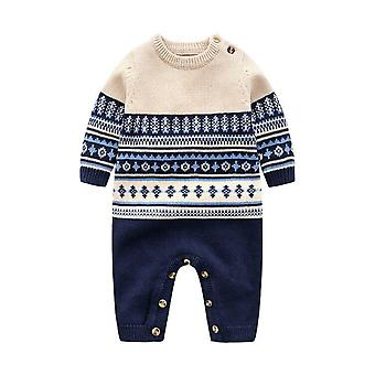 Baby Winter Cotton Knitted Sweater Gentleman Casual Crawl Handsome Romper