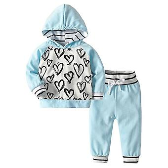 Baby Autumn Winter Hooded Tops+flowers Pants 2pcs Pullovers Outfit