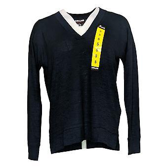 Kirkland Signature Women's Top Long Sleeve V Neck Soft Jersey Knit Blue