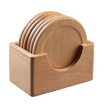 6 Pcs Beech Wood Coaster