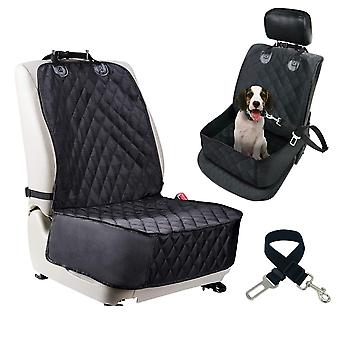 Dog Car Front Seat Cover Pet Safety Protector Hammock Waterproof Mat & Seatbelt