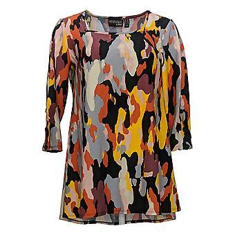 Attitudes Door Renee Women's Petite Top Square-Neck Tunic Orange A378266