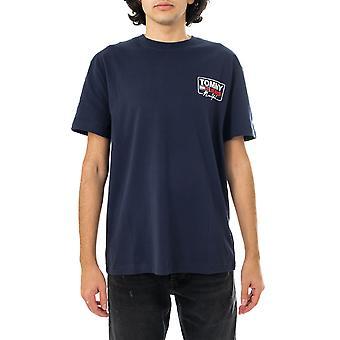 T-shirt homme tommy jeans tjm ny script box back logo tee dm0dm10216.c87