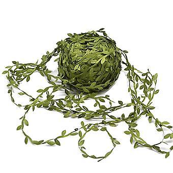 20/40 Meter Bladformet Håndmake Kunstige grønne blade til bryllupsdekoration DIY Krans Gave Scrapbooking Craft Fake Flower