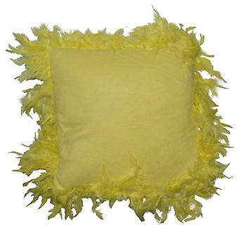 cushion with feathers 40 x 40 cm suede yellow