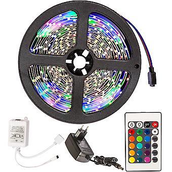 tectake RGB LED bånd 5 m. med fjernbetjening - hvid
