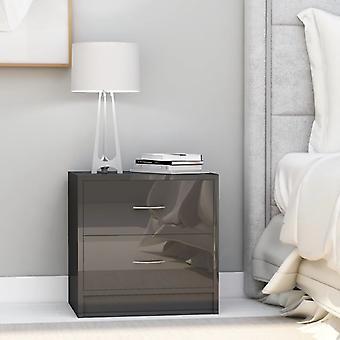 vidaXL Table de chevet gris brillant 40 x 30 x 40 cm Panneau de particules
