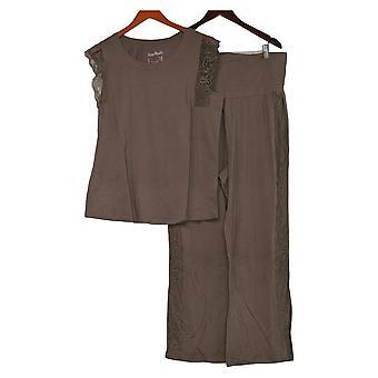 Nogen Kvinder 's Hyggelig Strik Plisseret Lace Pyjamas Set Beige A353763