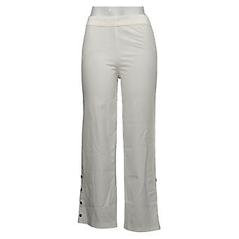 Isaac Mizrahi Live! Frauen's Petite Hose Stretch Wide Snap Weiß A351094