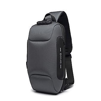 Bolsa de diseño de bloqueo multifunción bolso de hombro de hombre antirrobo USB correa de carga messenger bolsa (gris)