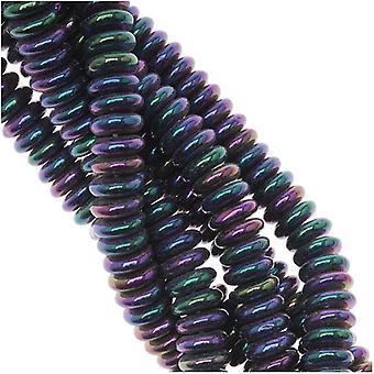 Cuentas de vidrio checas 6x2mm Rondelle Espaciadores Iris Púrpura (25)