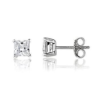 Eye Candy - Women's earrings, sterling 925 rhodium silver earrings with white zircons, square 5 mm ECJ er0014