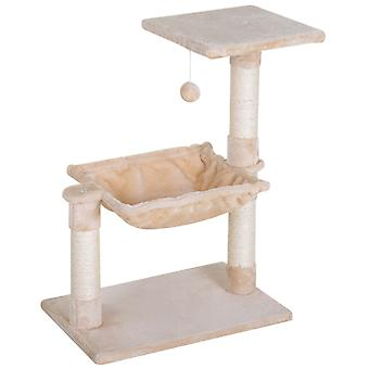 PawHut Two-Tier Cat Activity Tree Kitten Play Tower Palace w/ Sisal Scratching Post Hammock Perch Ball Beige Natural Pet Teasing Toy Kitty Center