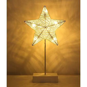 Decorative Table Lamp, Battery Powered Led Bedside Lamp In Star Shape, Night Lighting Warm White Light - White